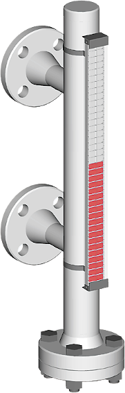 A picture, visual magnetic bypass level indicator with side process connections for up to 6 bar process pressure