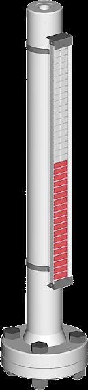 Ein Bild, visuell magnetischer bypass Füllstandsanzeiger mit Prozessanschlüssen oben/unten für bis zu 6 bar Prozessdruck
