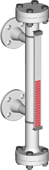 A picture, visual magnetic bypass level indicator with side process connections for up to 20 bar process pressure