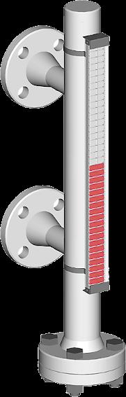 Ein Bild, visuell magnetischer bypass Füllstandsanzeiger mit seitlichen Prozessanschlüssen für bis zu 100 bar Prozessdruck