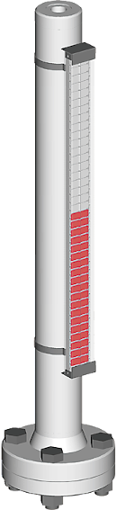 Ein Bild, visuell magnetischer bypass Füllstandsanzeiger mit Prozessanschlüssen oben/unten für bis zu 10 bar Prozessdruck