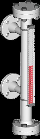 Ein Bild, visuell magnetischer bypass Füllstandsanzeiger mit seitlichen Prozessanschlüssen für bis zu 2.5 bar Prozessdruck