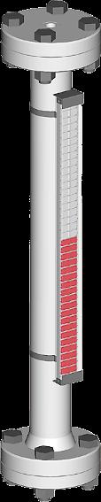 Ein Bild, visuell magnetischer bypass Füllstandsanzeiger mit Prozessanschlüssen oben/unten für bis zu 2.5 bar Prozessdruck